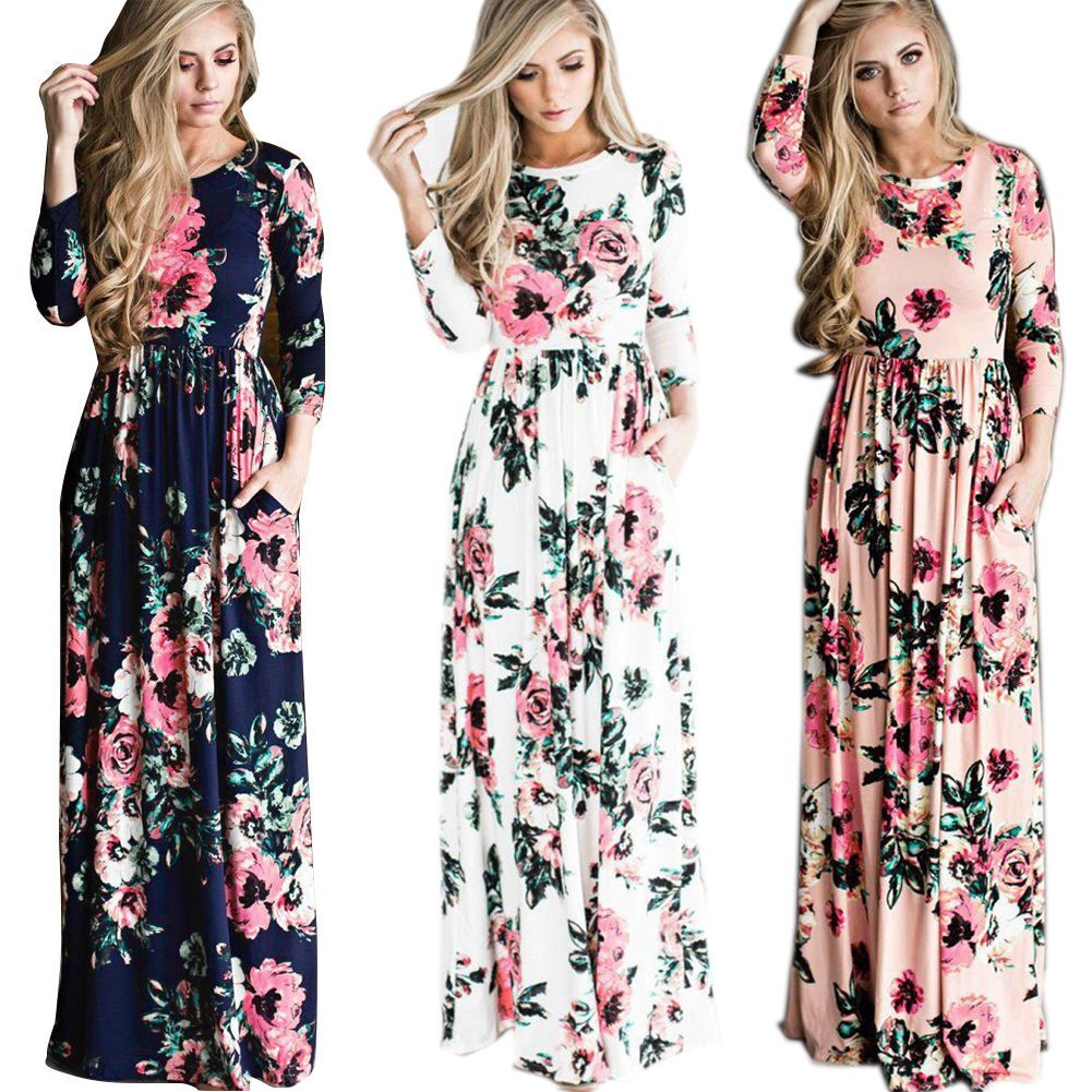 Women boho long evening party cocktail prom floral summer beach maxi