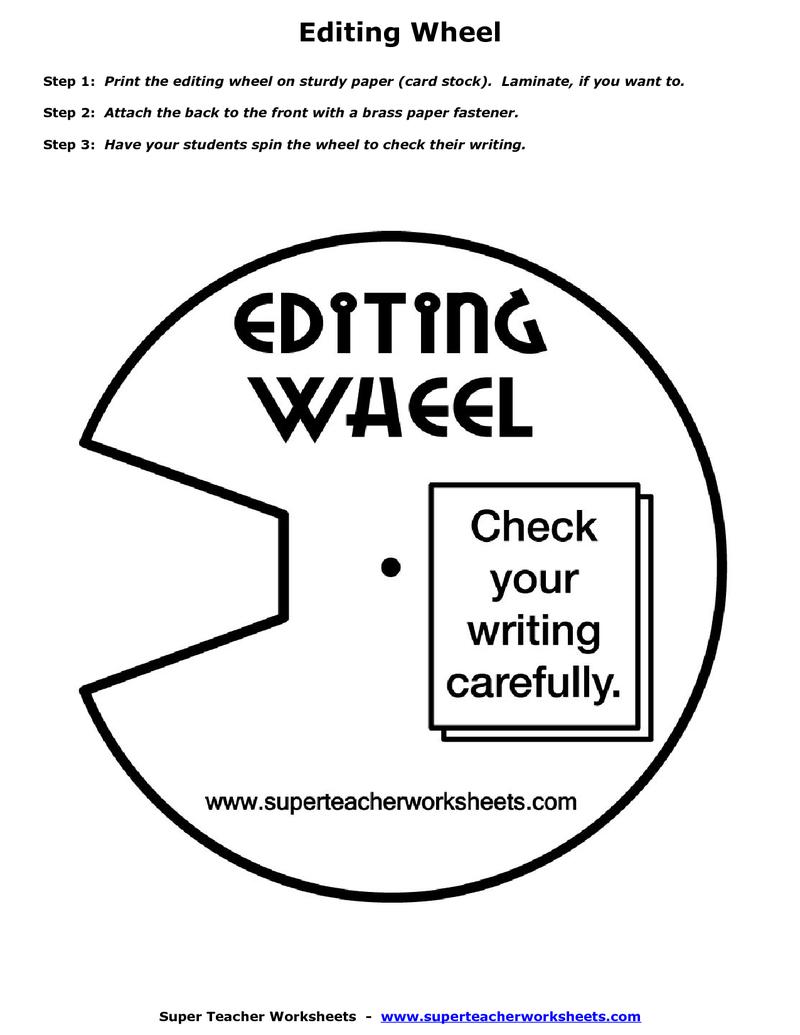 Editing Wheel Printout Pdf Betterlesson Teaching Writing Creative Writing Tips Writing Anchor Charts