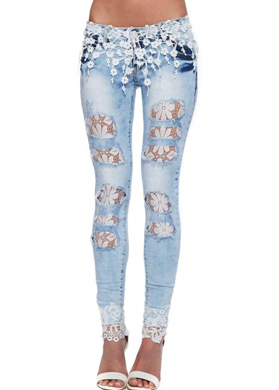 DIY: una idea para personalizar un pantalón vaquero con encaje o ...