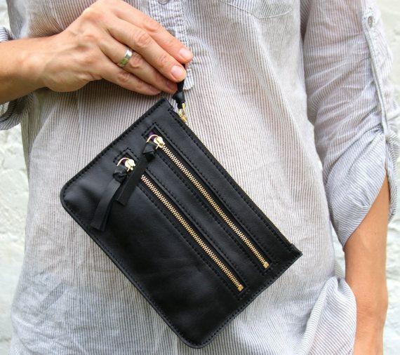 Black leather zipper wallet, iPhone wallet, leather pouch, zippeer pouch, golden zipper