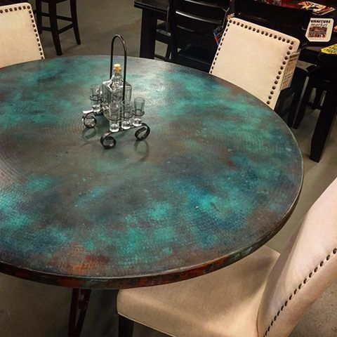 Visit Furniture Market In Austin Texas And Take A Look At Our New Line Of Hand Hammered Copper Dining Dining Table Copper Old Wood Table Painted Table Tops