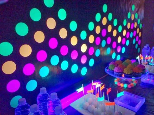 Photo booth punched circles with neon cardstock  made  chevron pattern  adhered them to black wrapping paper mounted it the wall also best party ideas images on pinterest birthdays and rh
