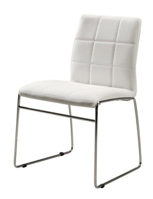 Cube spisebordsstol - Flotte spisestuestole i hvidt kunstlæder med krom stel. Stolene sælges kun i sæt á fire stole.