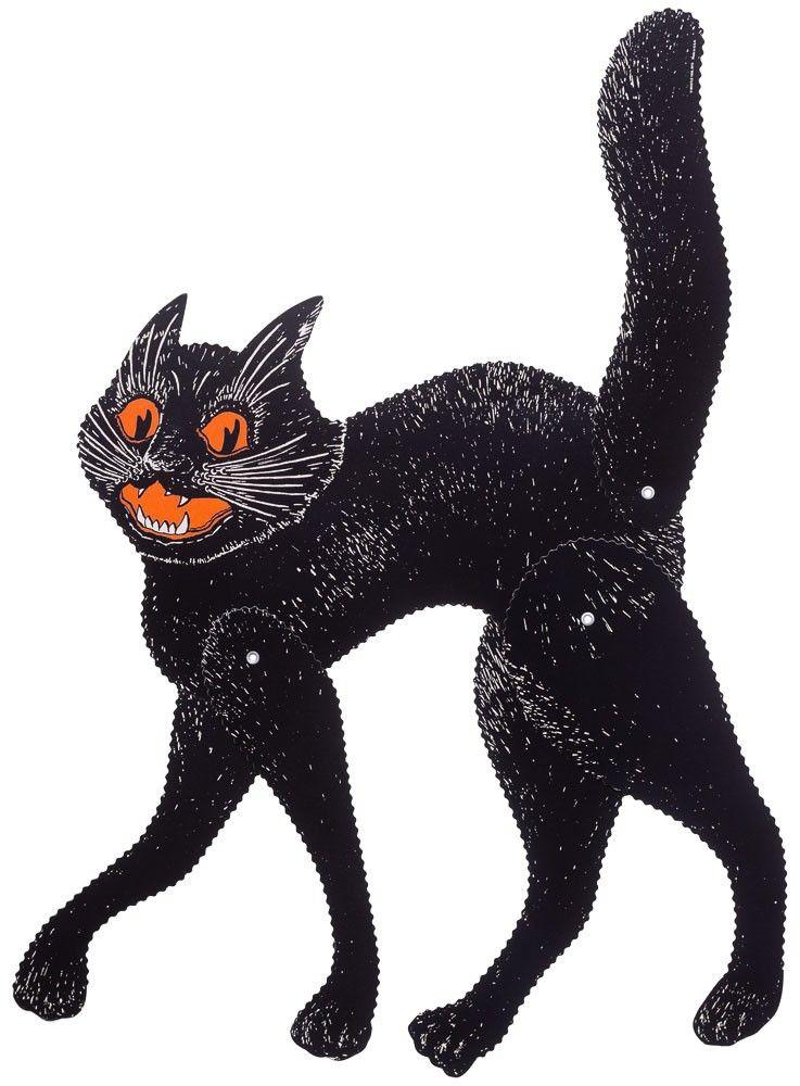 VINTAGE HALLOWEEN JOINTED SCRATCH CAT $800 #halloween #decor