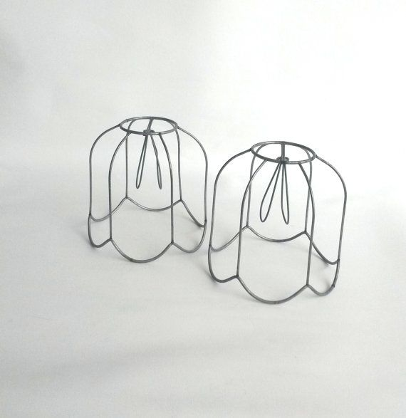 Set of 2 authentic vintage antique lampshade wire frames clip set of 2 authentic vintage antique lampshade wire frames clip on lamp shade greentooth Choice Image