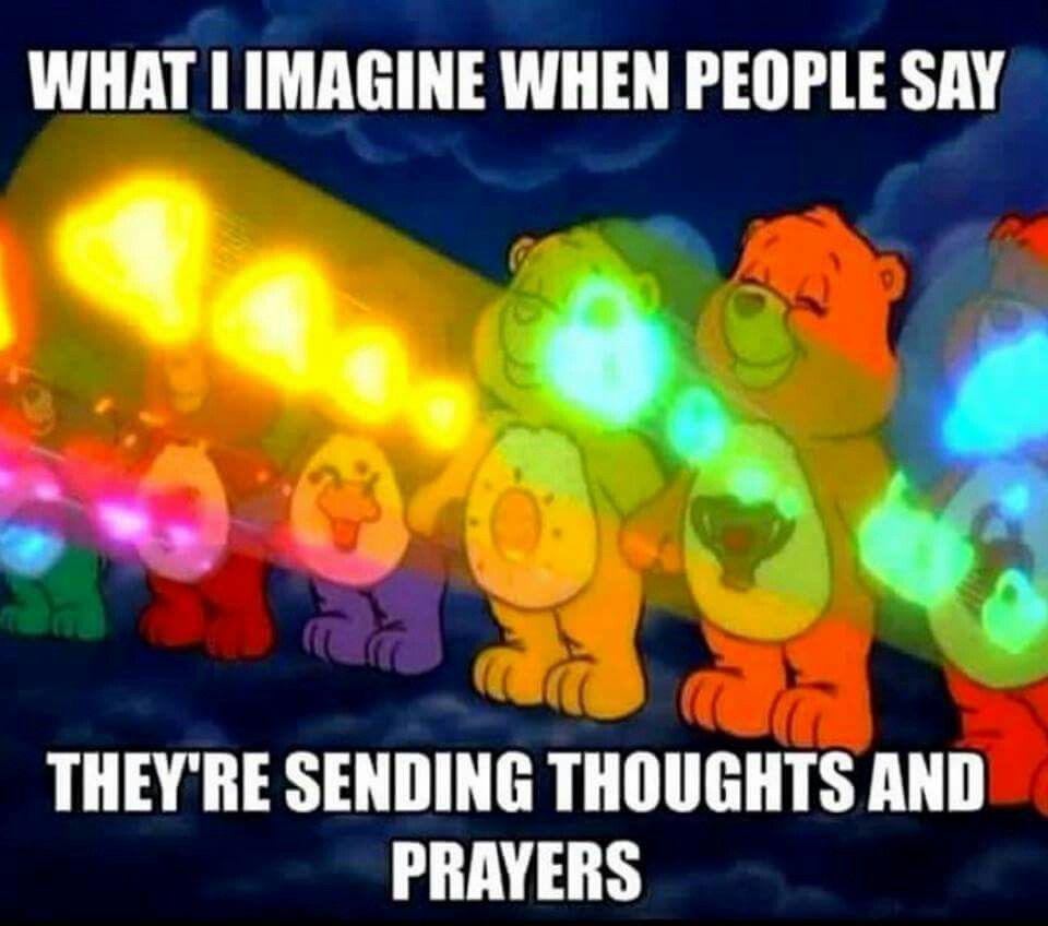 Sending Thoughts Prayers Care Bears Stare Haha Funny