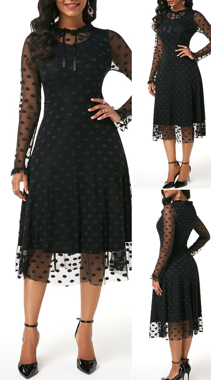 Dot Mesh Panel Long Sleeve Tie Neck Dress