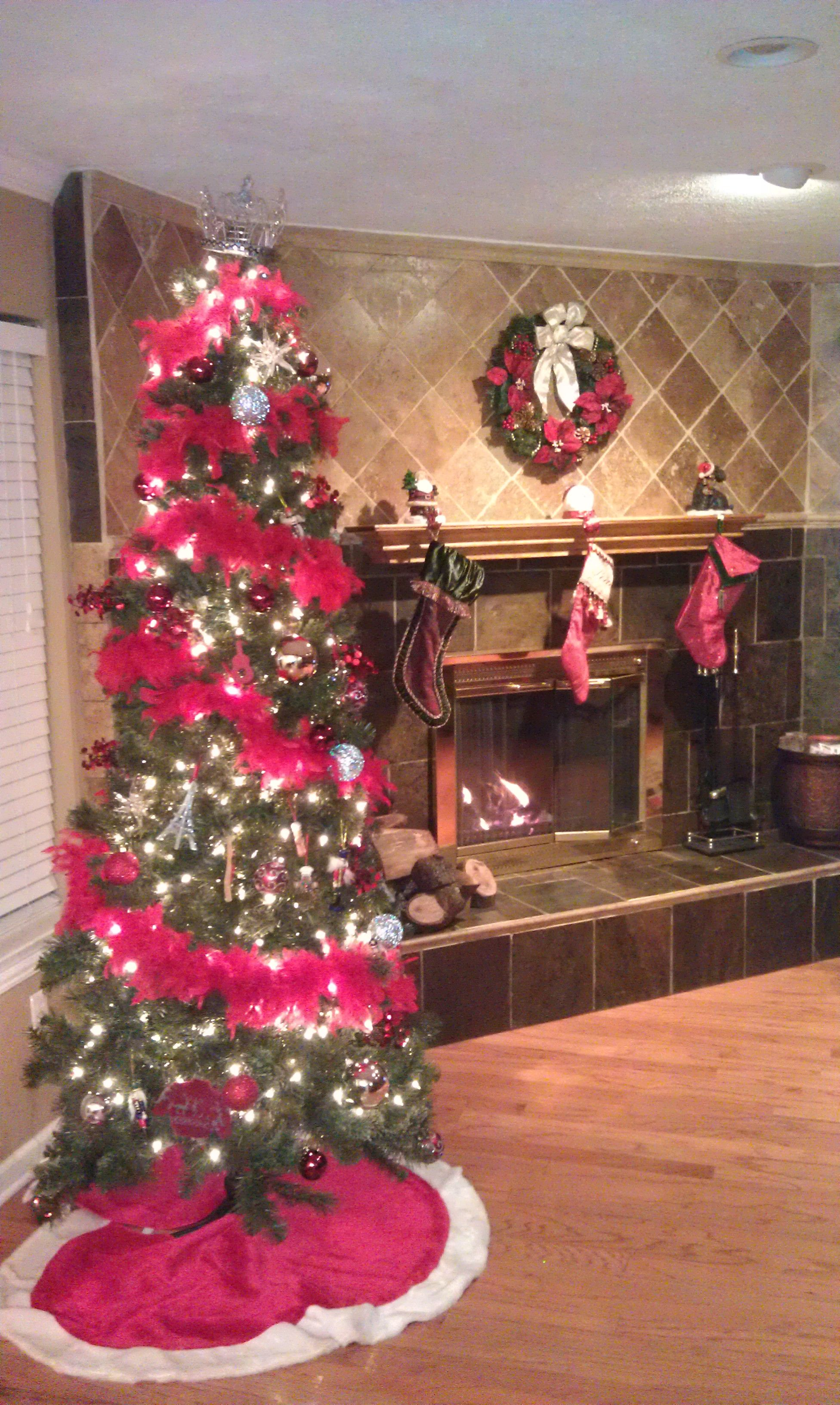 My Tree With Red Feather Boa S Christmas Tree Holiday Decor Christmas