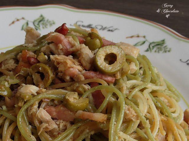 Curry y Chocolate: Espaguetis con atún y bacon - Spaghetti with tuna and bacon