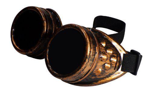 Steeampunk Goggles. A snip at £5.49. CYBER GOGGLES STEAMPUNK WELDING GOTH COSPLAY VINTAGE GOGGLES RUSTIC (Copper) FashionLDN http://www.amazon.co.uk/dp/B00BZYFISY/ref=cm_sw_r_pi_dp_aVOsub177BXHR