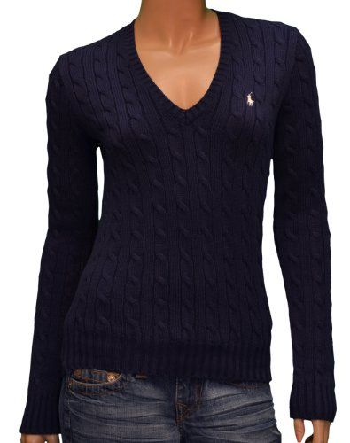 98205e0d03ed Polo Ralph Lauren Women s V-Neck Cable Knit Sweater-Medium