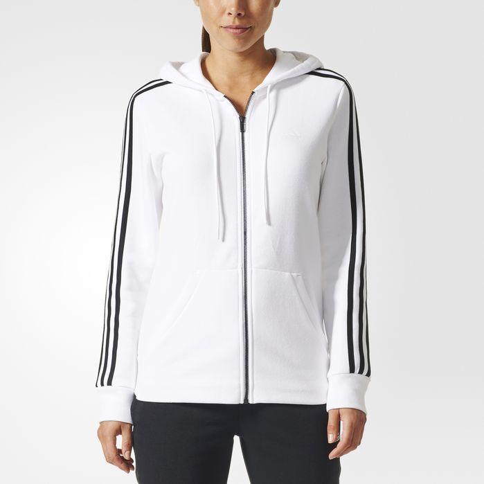 Womens adidas Essentials 3 Stripe Zip Through Hoody Grey