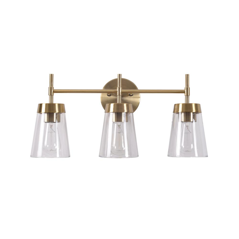 Manor Brook Bea 3 Light Antique Brass Vanity Light With Clear