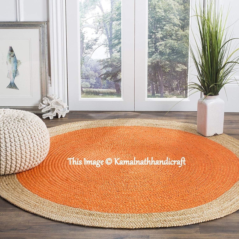 Natural Jute Rug Round Indian Braided Floor Rug Handmade Jute Rug