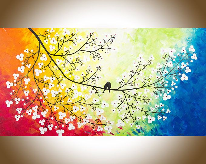 Large wall art Colourful love birds art red yellow orange blue green ...