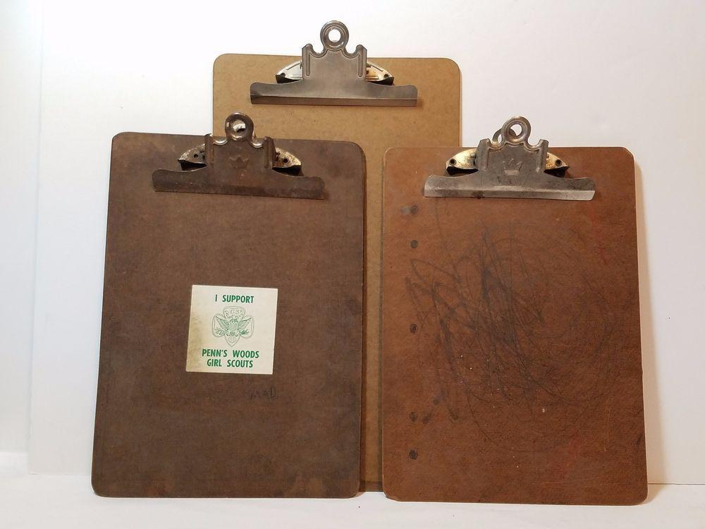 3 Vintage Paper Clip Boards Metal 9x12 9x15 Masonite Hard Back Holder Industrial