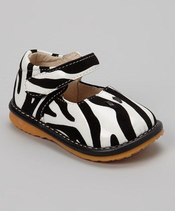 Loving this Izzy Bug Creations Black & White Zebra Squeaker Shoe on #zulily! #zulilyfinds