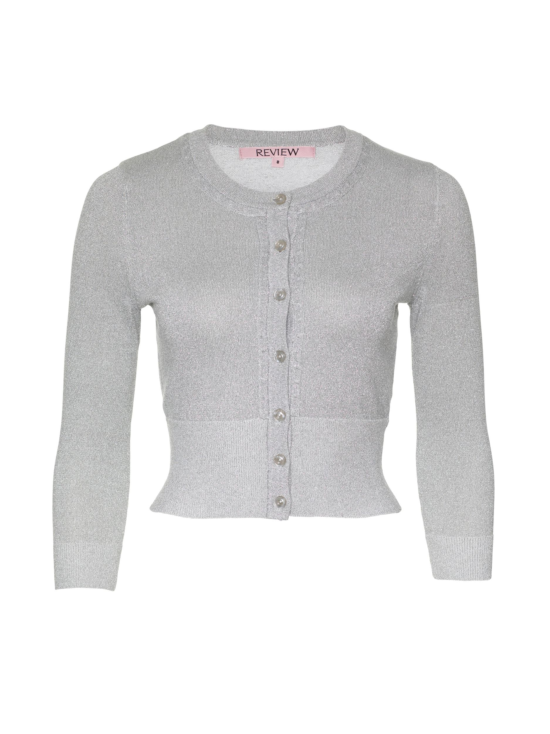 4e955b8c3d0 The classic Chessie 3 4 Sleeve Cardigan in shimmer is the perfect cardi for  any