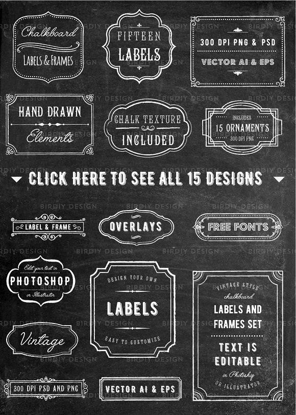 Chalkboard Frame And Label Overlays Framed Chalkboard Labels Chalkboard