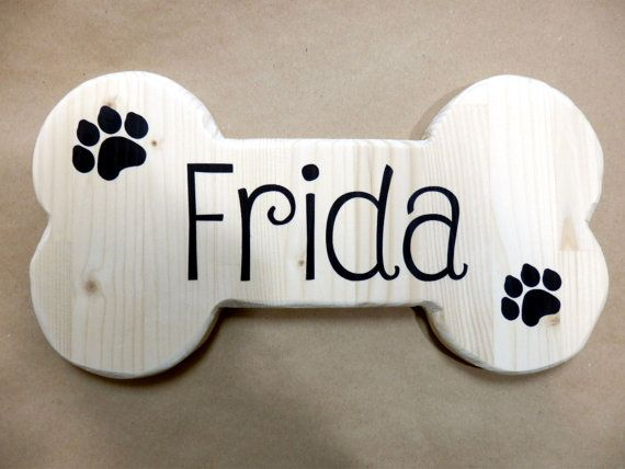 Dog Bone Shaped Sign Family Pet Name Personalized Wooden