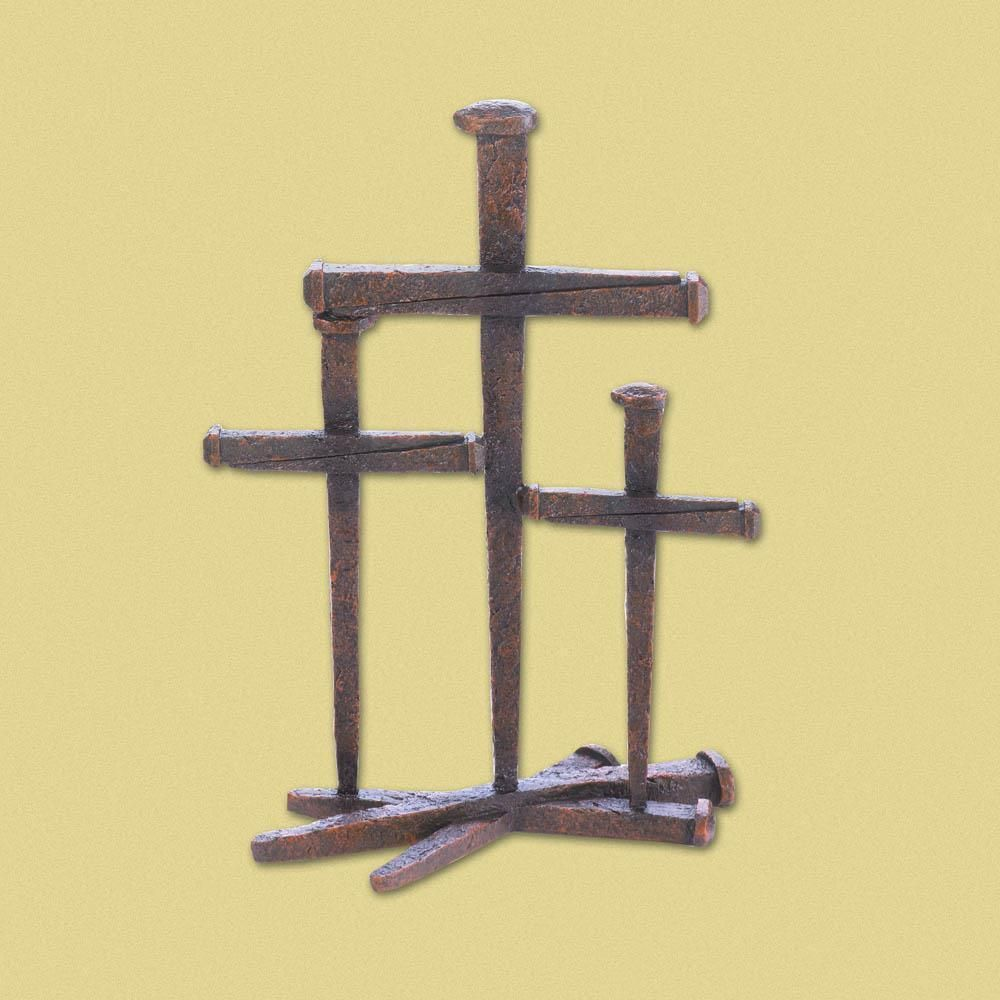 CROSS OF NAILS CHRISTIAN FAITH TRIO TABLETOP RUSTIC STANDING ...
