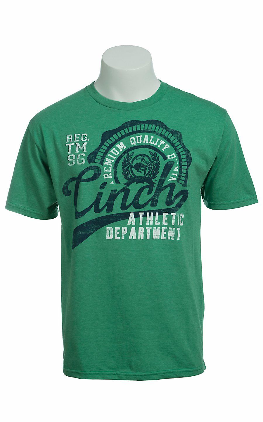Cinch® Men's Green with Navy & White Logo Short Sleeve Tee