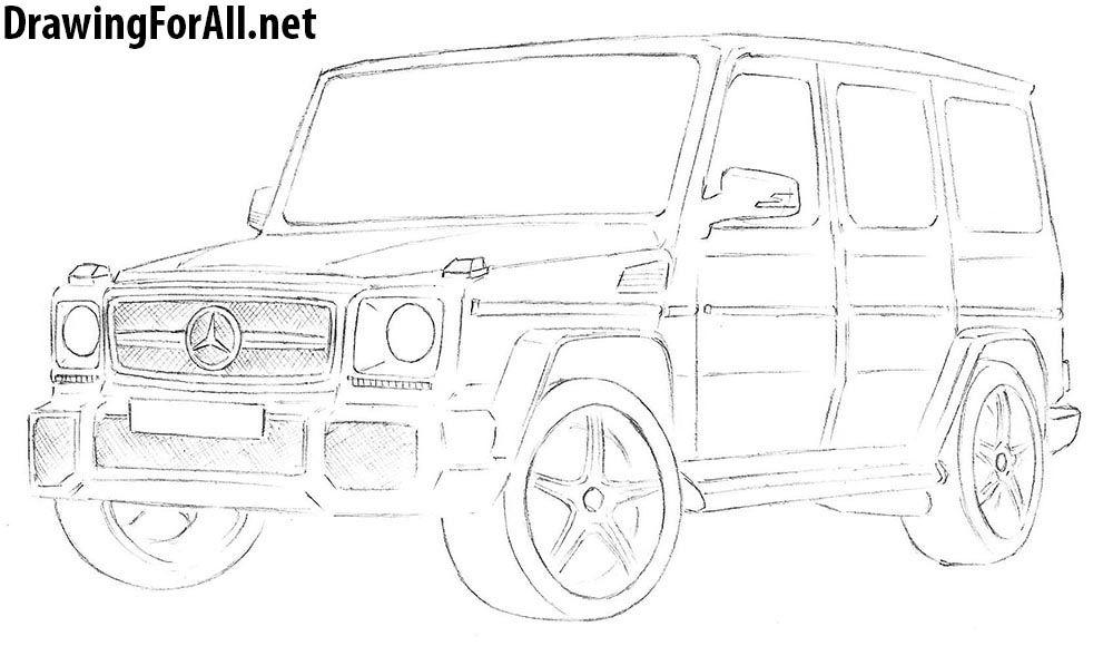 How To Draw A Mercedes Benz G Class Desenhos A Carvao Auto