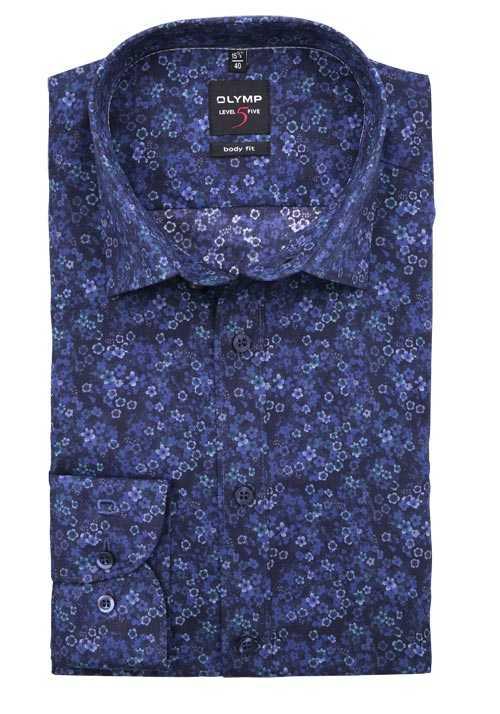 Olymp Level Five Body Fit Hemd Langarm Muster Blau Hemd Body Fit