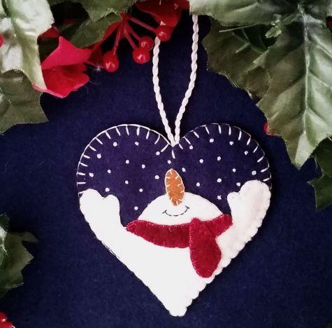 Let It Snow Wool Applique Heart Ornament Felt Christmas