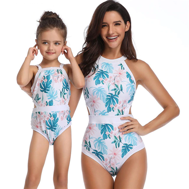 Mother Girl Swimwear Mommy and Me Swimsuit Halter Lace Deep V Neck Bathing Suit Mom and Daughters Swimwear Monikini