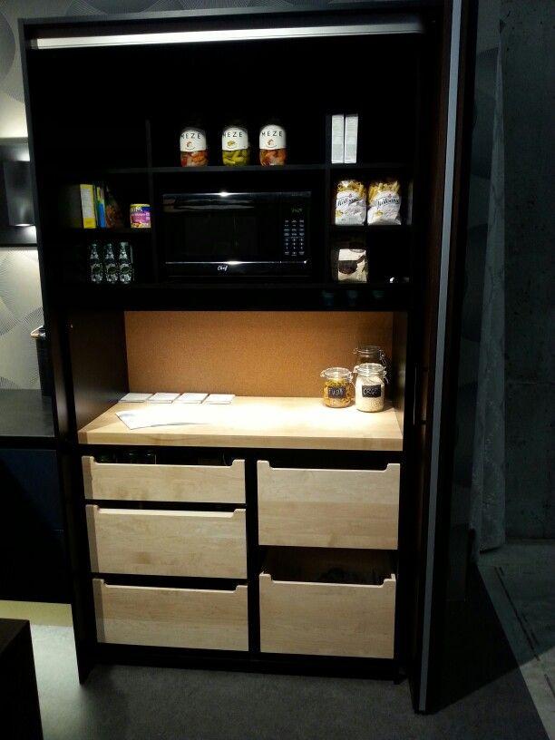 Armoire Avec Porte Escamotable Cachant Le Micro Onde Et Le Coin Dejeuner Liquor Cabinet Double Wall Oven Kitchen