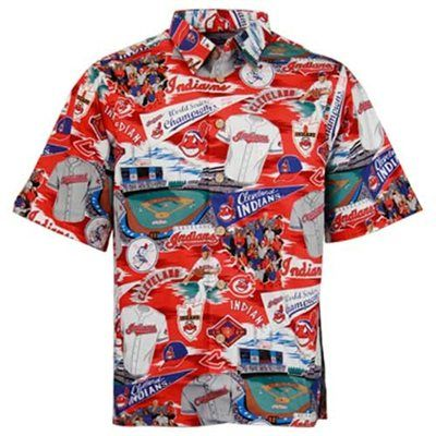 Cleveland Indians Red Scenic Print Hawaiian Shirt  19869cabb
