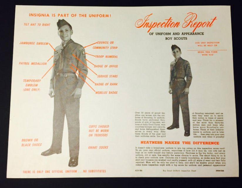 Vintage 1966 Boy Scouts Inspection Report of Uniform