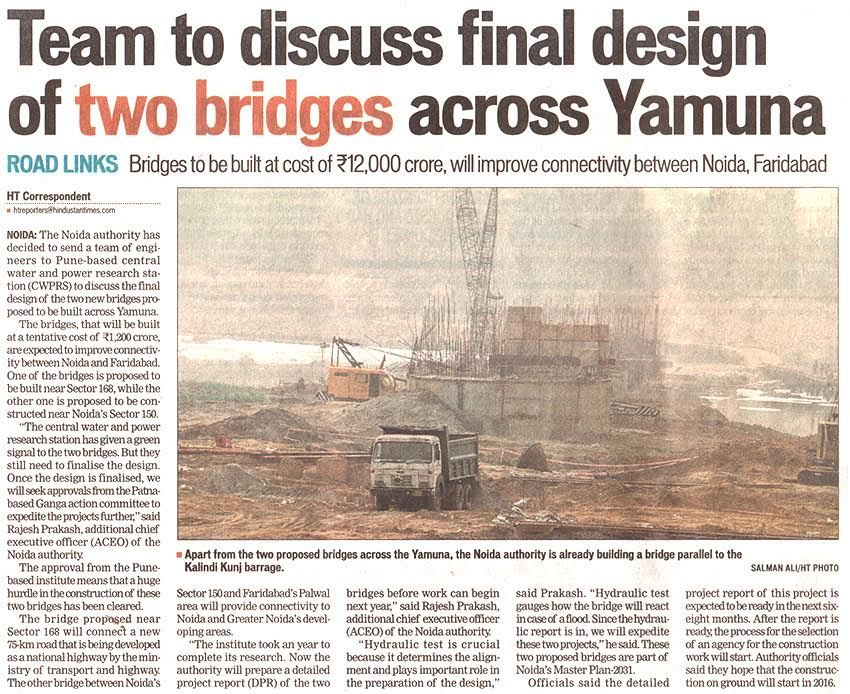 Team to discuss final design of two bridges across #Yamuna, which