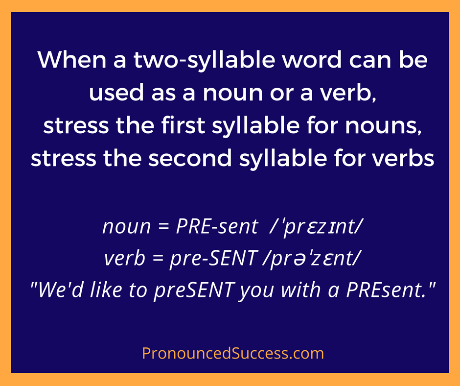 Use these English pronunciation syllable stress rules to