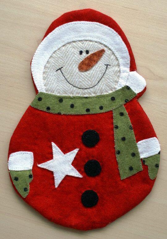 Becheruntersetzer Schneemann - Mug Rug | Weihnachten | Pinterest ...
