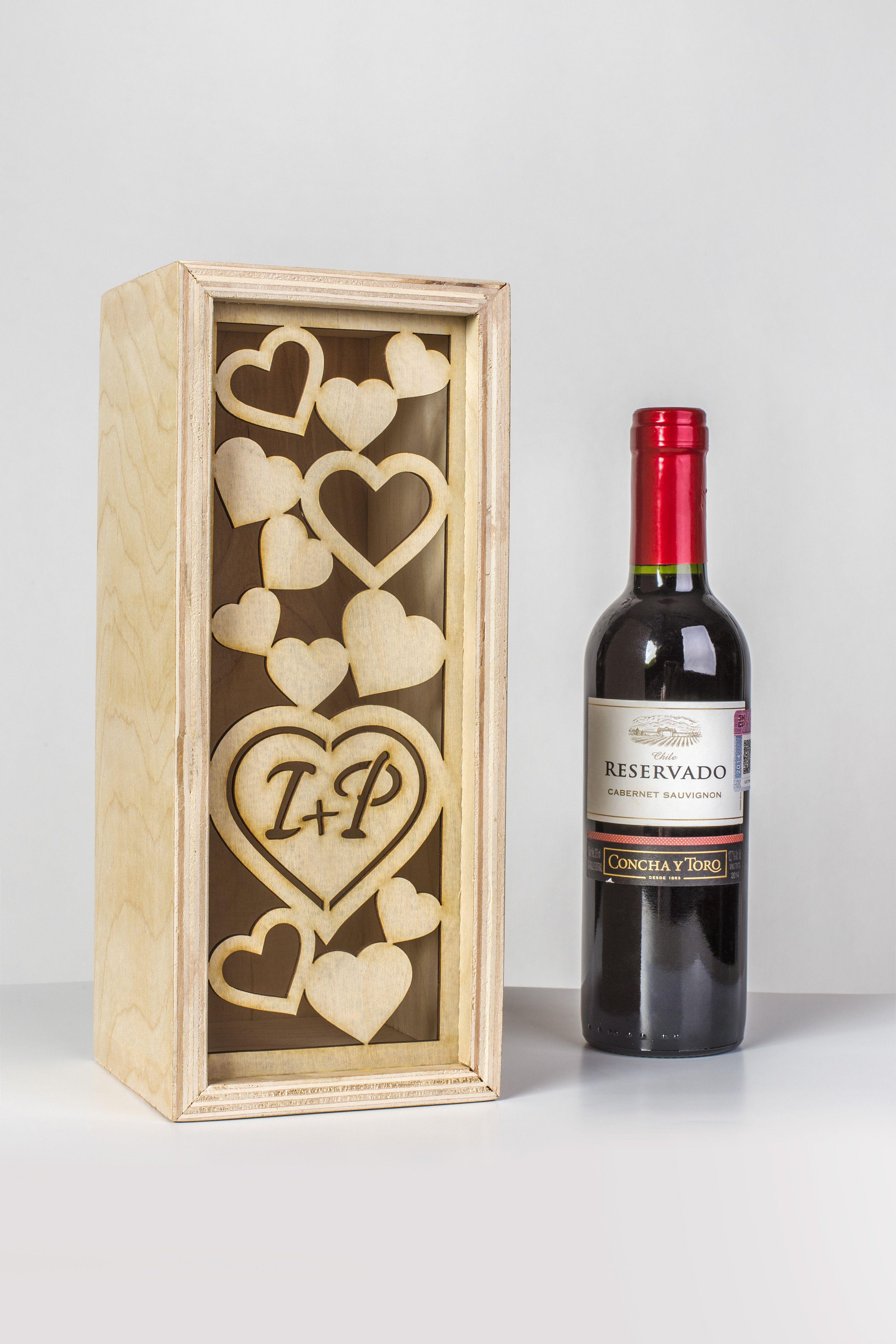 caja de madera para botella de vino grabado y corte laser