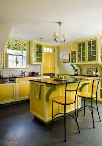 cuisine jaune et verte  idees couleurs deco cuisine  Cuisine jaune Cuisine americaine et Deco
