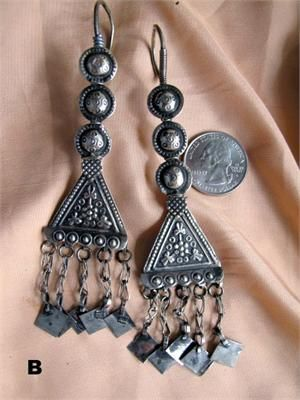 afghani long tribal earrings tribal bellydance