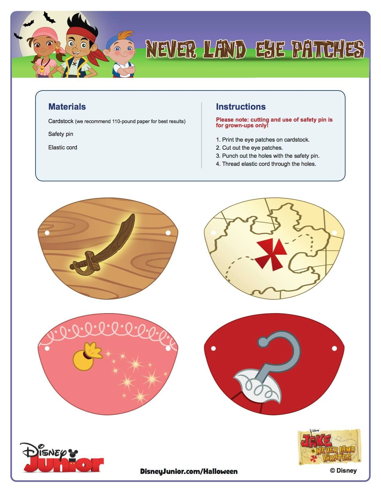 Jake and the Neverland Pirates printable eyepatches