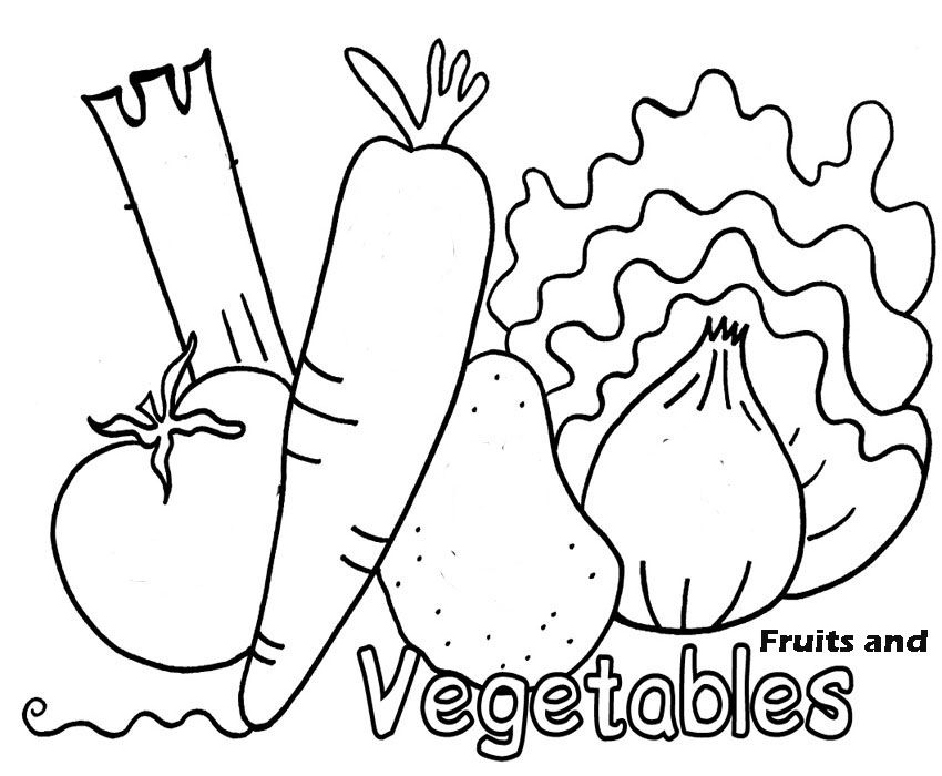 fruits and vegetables coloring pages for kids | Coloring Pages Fresh Fruit And Vegetables free printable ...