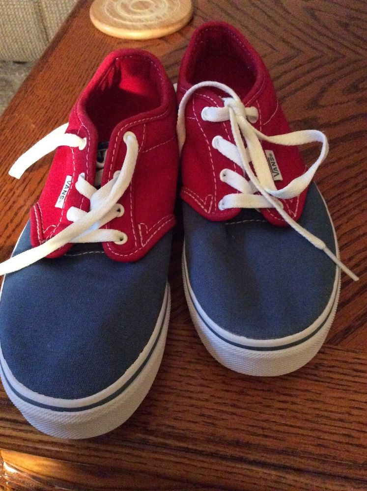 0a46c7fde5 Youth VANS WINSTON Two-Tone Blue Red Canvas Skate Casual Sneakers Size 5  1 2