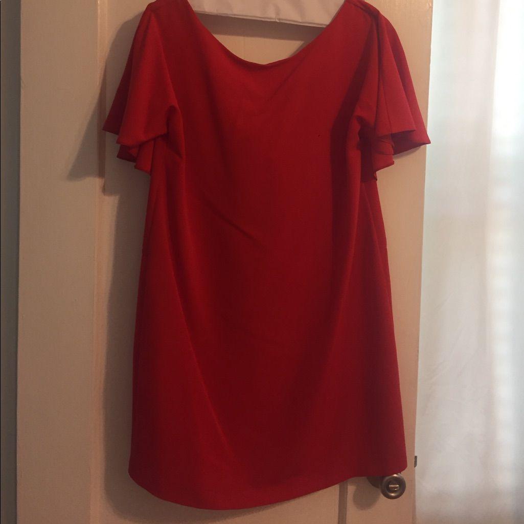 Zara red orange shift dress products
