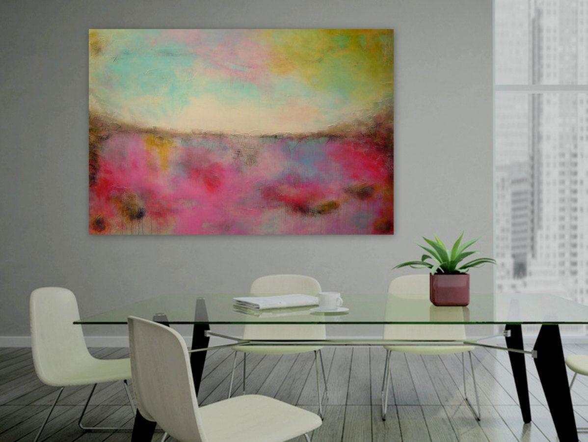 grosse wand leinwand bunte gem lde rosa malerei pink blau kunst abstrakte malerei. Black Bedroom Furniture Sets. Home Design Ideas