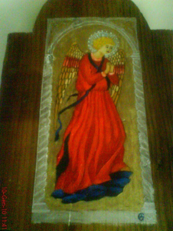 arcangelo su legno antico dipinto a olio ,euro 25