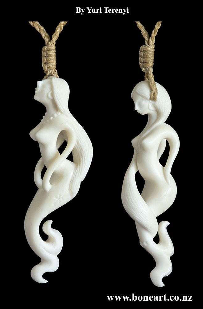 Hand Carved Bone Mermaid Necklaces By Yuri Terenyi Www Boneart Co Nz Bone Carving Bone Jewelry Bone Crafts