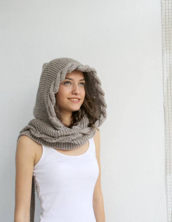 caec37dd68c Hand Knit Light Brown Wool Hooded Scarf, Cable Long Hoodie Scarves ...