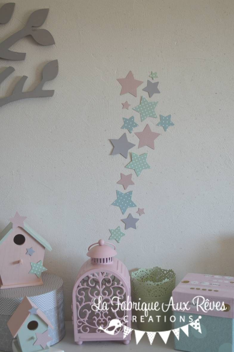 Dispo Lot 25 Stickers Etoiles Rose Poudre Mint Menthe Vert Eau