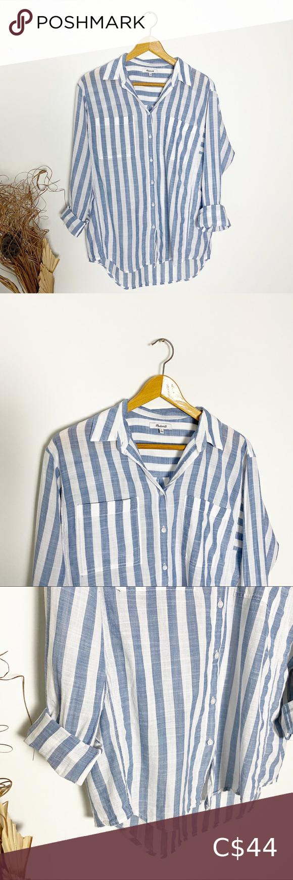 Madewell Blue White Striped Cotton Button Down Grey Long Sleeve Shirt Dark Denim Shirt Red Plaid Shirt