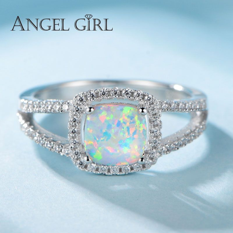 Angel Girl New Arrival 925 Sterling Silver Rings For Women With Square Fire Opal and Clear Crystal Free Shipping R0057-WW-S